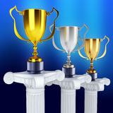 Gold silver and bronze trophy's Royalty Free Stock Photography