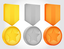 Gold silver and bronze vector medals Royalty Free Stock Photography