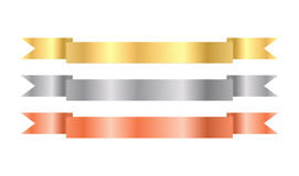 Gold, silver, bronze vector ribbons with texture Royalty Free Stock Photos