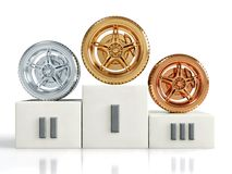 Gold, silver and bronze wheel awards Stock Images