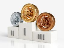 Gold, silver and bronze wheel awards Royalty Free Stock Image