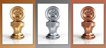 Gold, silver and bronze wheel awards Royalty Free Stock Photo