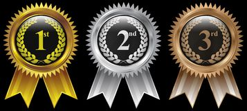 Gold, Silver, Bronze winner badge medal icon stock photo