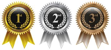 Gold, Silver, Bronze winner badge medal icon stock images