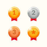 Gold, Silver and Bronze Winner Medals. Award Ribbons Stock Images