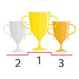 Gold silver and bronze winners cup. Stock Images