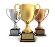 Gold, silver and bronze winners cup Royalty Free Stock Photos