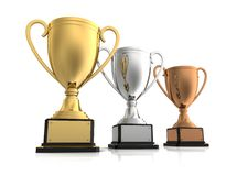 Gold, silver and bronze winners cup Stock Photos