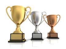 Gold, silver and bronze winners cup Stock Image