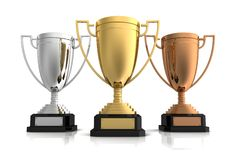 Gold, silver and bronze winners cup Stock Photo