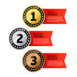 Gold, Silver and Bronze winners medals Royalty Free Stock Photo