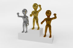 Gold, Silver and Bronze Winners Podium. A winners podium with the winners depicted in gold, silver and bronze color Royalty Free Stock Photo