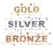 Gold, silver, bronze words Stock Photos
