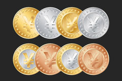 gold, silver and bronze yen coins. EPS Stock Photos