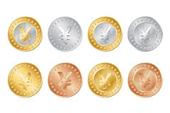 gold, silver and bronze yen coins. EPS Royalty Free Stock Image