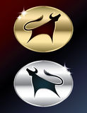 Gold and silver bull sign Royalty Free Stock Image