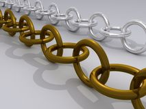 Gold and silver chains royalty free stock images
