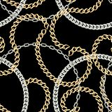 Gold and silver chains on black background. Seamless pattern vector image. royalty free illustration