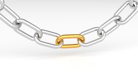 Gold and silver chains. Leadership concept, gold and silver chains, on white background. 3D Rendering Stock Images