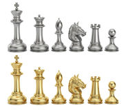 Gold and silver chess figures in row, 3D rendering. Gold and silver chess figures in row, 3D Stock Image