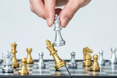 Gold and silver chess royalty free stock photos