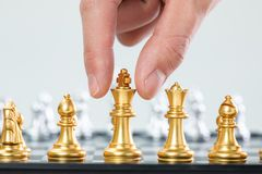 Gold and silver chess stock photography