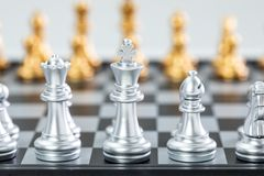 Gold and silver chess stock photo