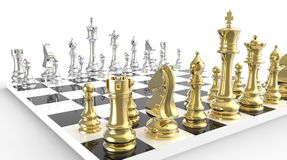 Gold and silver chessboard Stock Images