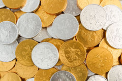 Gold And Silver Chocolate Coins Royalty Free Stock Photo