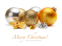 Gold and silver Christmas balls. On white stock photography