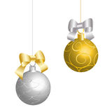 Gold and silver Christmas balls Stock Images