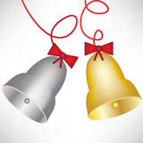 Gold and silver christmas bells Stock Photos