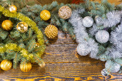 Gold and silver Christmas decorations Stock Image