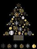 Gold and silver christmas tree. Christmas tree greeting card in gold and silver Royalty Free Stock Image