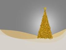 Gold and silver Christmas tree card. Seasonal holiday greetings. Stock Photos