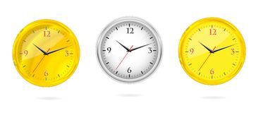 Gold and silver clocks set Stock Image