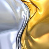 Gold and silver cloth background. Similar to yin yang symbol. Conceptual 3d illustration Stock Image
