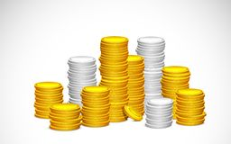 Gold and Silver Coin. Illustration of stack of gold and silver coin Stock Image