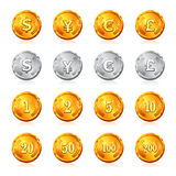 Gold and silver coin with currency and price. Royalty Free Stock Photo