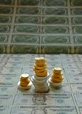 Gold and silver coin stack Royalty Free Stock Photo