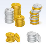 Gold and Silver Coin Stack Vector Icons Royalty Free Stock Images