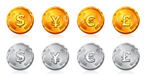 Gold & silver coins Stock Images