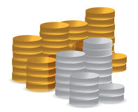 Gold and silver coins. Illustration design over white Royalty Free Stock Images