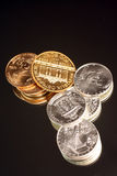 Gold and silver coins Royalty Free Stock Photography