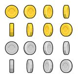 Gold and Silver coins with different rotation. Angles.  Vector illustration isolated on white background Royalty Free Stock Photo