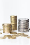 Gold and silver coins isolated Stock Images