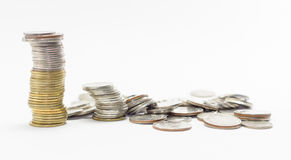 Gold and silver coins Royalty Free Stock Images