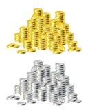 Gold and silver coins Stock Photos