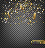 Gold and silver confetti. Festive Decorative Element for greeting cards. Gold and silver confetti. Vector festive illustration of a falling shiny confetti Stock Photo