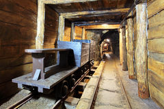 Gold, silver and cooper mine stock images
